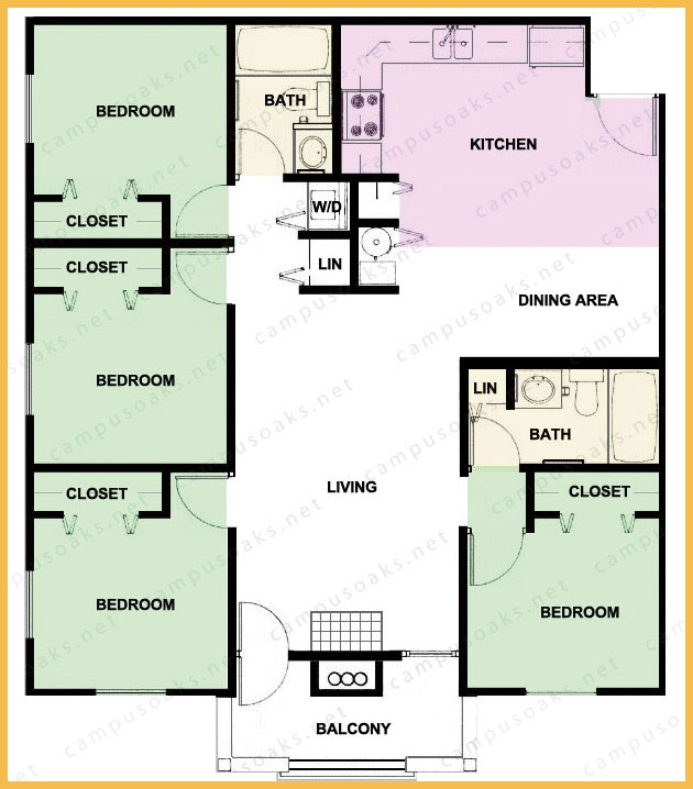 Floor Plan Campus Oaks Apartments Uiuc Champaign Urbana